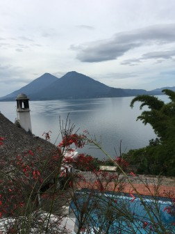View across Atitlan to Volcano