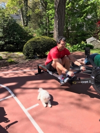 Rowing with Murphy the dog