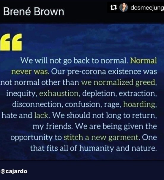 Brene Brown back to normal quote